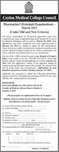 Pharmacists' (External) Examinations March 2015 – Application calls by Ceylon Medical College Council