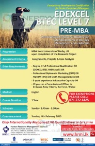 Pre MBA – EDEXCEL BTEC LEVEL 7 - Competency Development Qualification for Senior ExecutivesManagers
