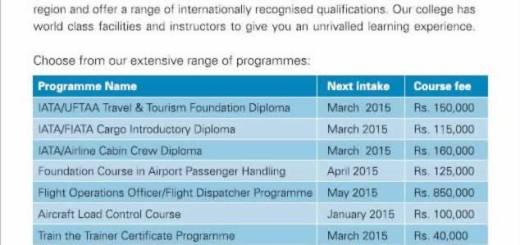 Sri Lankan Airline Aviation College – New Enrollments for courses