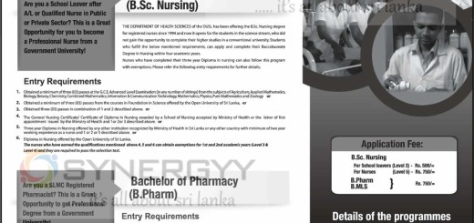 The Open University of Sri Lanka's Nursing, Pharmacy and Medical Laboratory Science Degree Programme – Applications call Now