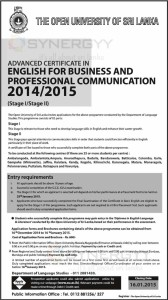The Open University of Sri Lanka - Advanced Certificate in English for Business and Professional Communication 20142015 (Stage IStage II) – Applications Calls Now