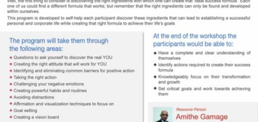 Transform yourself into the best version of you a workshop by Amithe Gamage