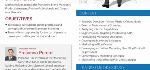Corporate Marketing Planning workshop by Prasanna Perera