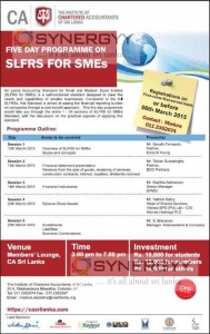 Five Day Programme on SLFRS for SMEs by The Institute of Chartered Accountants of Sri Lanka