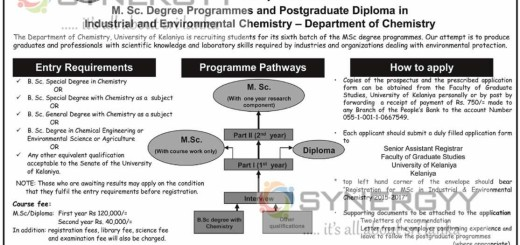 M Sc. In Industrial and Environmental Chemistry from University of Kelaniya – Applications calls now
