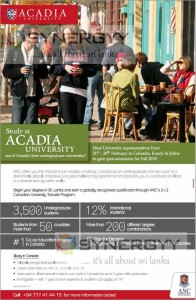 Study at Acadia University - enrollment in Sri Lankaq