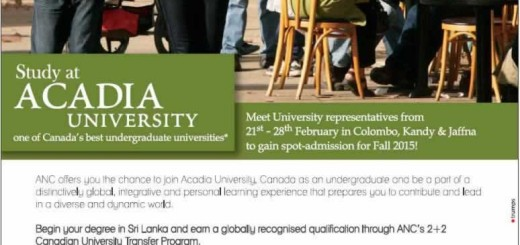 Study at Acadia University - enrollment in Sri Lankaq