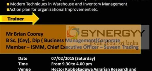 Workshop on Modern Warehouse Management and Inventory Control Systems – 7th February 2015