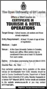 Certificate in Tourism & Hotel Operations from Open University of Sri Lanka