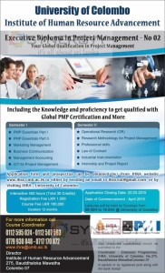 Executive Diploma in Project Management by Institute of Human Resource Advancement of University of Colombo