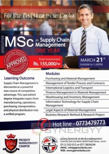Executive MSc in Supply Chain Management from Global Institute of Project Management