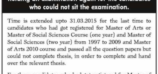 Extension of the period of time of the candidates who had got registered for Master of Arts Master of Social Sciences courses from 1997 to 2010 of University of Kelaniya, Sri Lanka