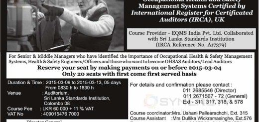 Lead Auditor Course on OHSAS 18001 from Sri Lanka Standards Institution