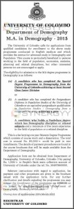 University of Colombo M.A. in Demography –Applications calls for 2015 – Submission date 30th March 2015