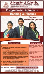 University of Colombo Postgraduate Diploma in Banking & Finance – Application Closing on 27th March 2015
