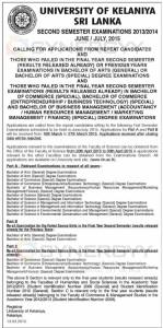University of Kelaniya Sri Lanka Called Applications From for Repeat Candidates