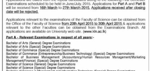 University of Kelaniya Sri Lanka Called Applications From for Repeat Candidates