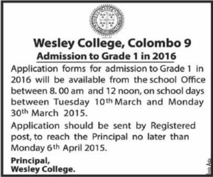 Wesley College Admission to Grade 1 in 2016