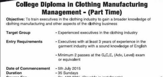 College Diploma in Clothing Manufacturing Management from Brandix College of Clothing Technology