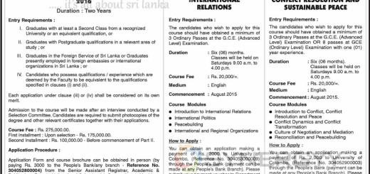 International Relationship Certificate & Master Degree Programme from University of Colombo – Application calls now