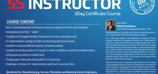 Advance 5S Instructor – 3Day Certificate Course by Mr.Thilak Pushpakumara