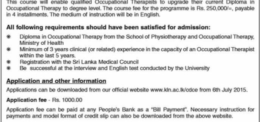 B.Sc. Degree Programme (External) in Occupational Therapy – 2015 from Centre for Distance and Continuing Education- University of Kelaniya