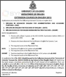 Colombo University Diploma in English