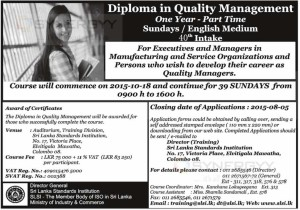 Diploma in Quality Management - One Year Part Time Sundays  English Medium by SLSI