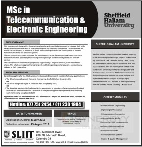 MSc in Telecommunication & Electronic Engineering from Sheffield Hallam University