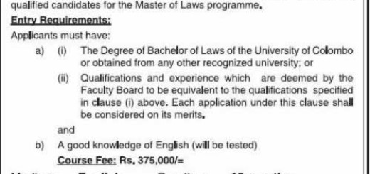 Master of Laws 2015/17 by University of Colombo – Apply on or before 15th August 2015