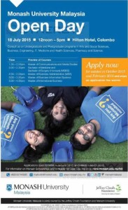 Monash University Malaysia Open Day @Hilton Colombo on 18th July 2015