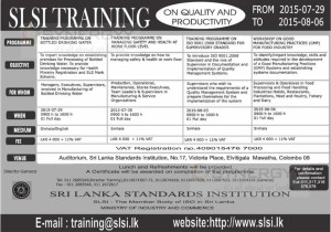 Sri Lanka Standards Institutions (SLSI) Training on Quality and Productivity – from 29th July to 6th August 2015