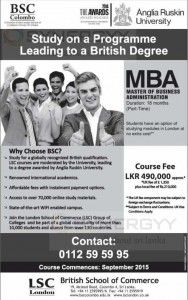 Anglia Ruskin University MBA by British School of Commerce in Sri Lanka