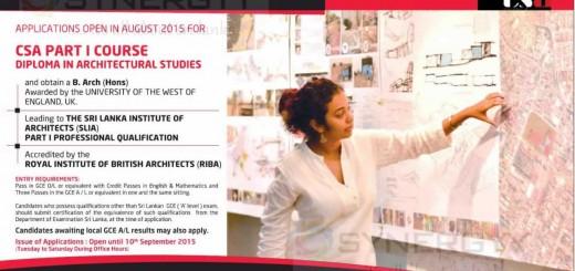 Architecture Qualification in Sri Lanka from City School of Architecture (CSA)