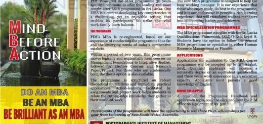 Postgraduate Institute of Management - Master of Business Administration (PIM MBA)
