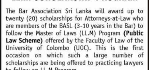 The Bar Association Sri Lanka LL.M Scholarship Program
