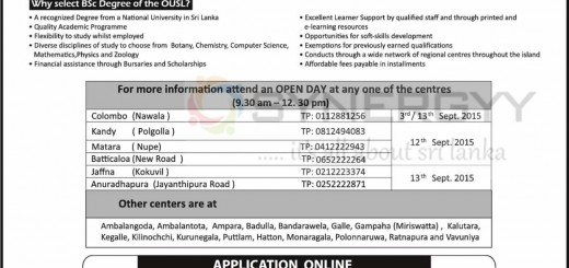 Open University of Sri Lanka BSc Degree Programme – Applications call now