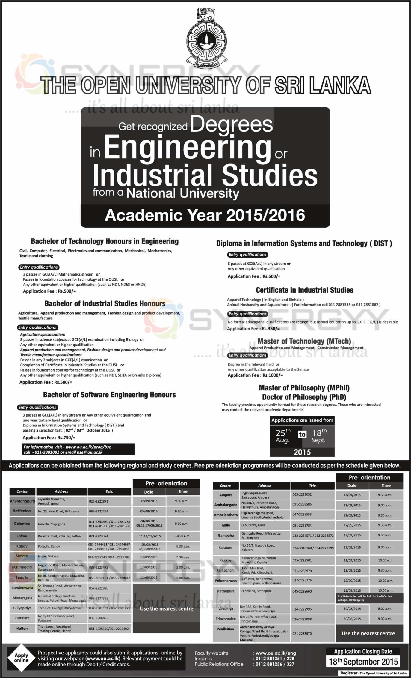 Open University Of Sri Lanka Engineering Degree Programme