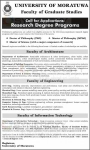 University of Moratuwa Postgraduate Research Degree Programme (PhD and MPhil) – Applications call now