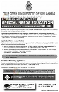 Postgraduate Diploma in Special Needs Education from Open University of Sri Lanka – 20152016
