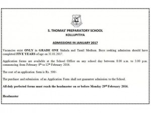 St Thomas' Preparatory School Admissions for Grade 1 in January 2017