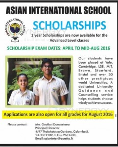 Asian International School Scholarships for Advance Level Classes