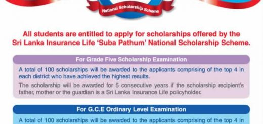 Sri Lanka Insurance Scholarship Scheme -300 Scholarships available for highfliers
