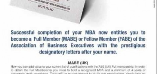 abe Professional qualification membership for MBA holders in Sri Lanka
