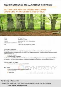 Environmental Management Systems - ISO 140012015 Auditor Transition Course Course No. A17902 Certificated BY IRCA