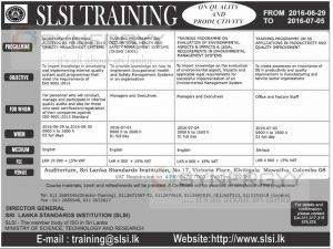 Srilanka Standard Institutions Training from 29th June to 5th July 2016
