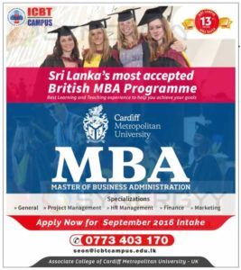Cardiff Metropolitan University MBA in Sri Lanka by ICBT Campus
