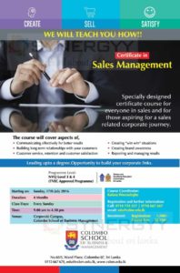 Certificate in Sales Management by Colombo School of Business & Management