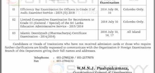 Department of Examination – July 2016 Examination