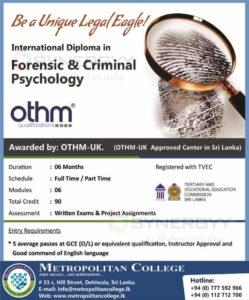 International Diploma in Forensic & Criminal Psychology